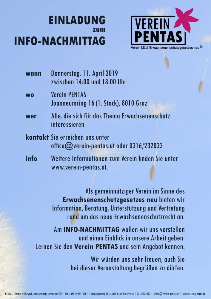 Einladung zum Info-Nachmittag am 11. April 2019 zwischen 14 und 18 Uhr im PENTAS-Büro am Joanneumring 16/I, 8010 Graz.